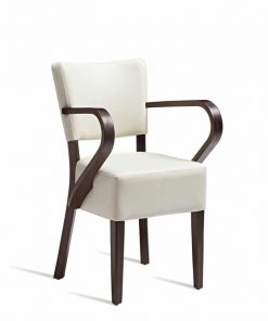 Club arm chair upholstered in faux leather armchair