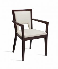 Premium upholstery gem arm chair in white faux