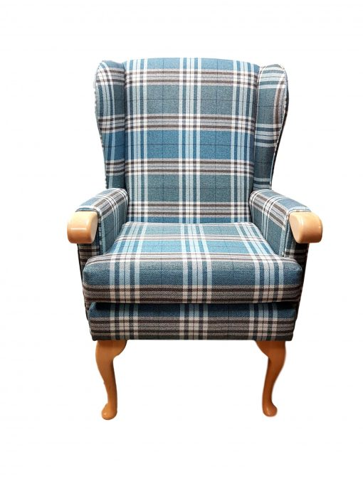 Lauryn high seat chair with wooden knuckle in Panaz Calroust Hunter check, high back chairs, wingback chair, elderly chairs, Fireside Chairs, high back chairs