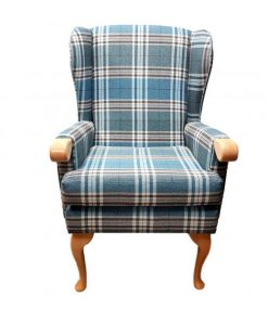 Lauryn high seat chair with wooden knuckle in Panaz Calroust Hunter check
