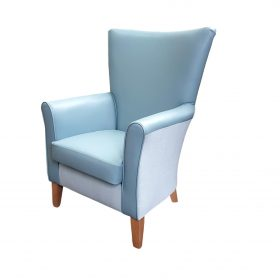 Amanda high back chair with Aston vinyl inner and Highland fabric outer